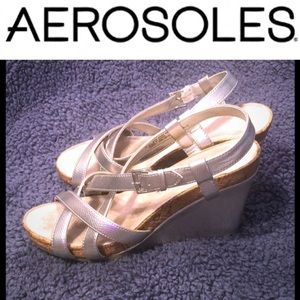 AEROSOLES Shoes - Aerosoles Silver Sandals Wedges